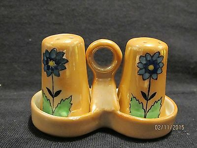 Vtg Salt and Pepper Shakers & Holder Blue Dahlias Golden Yellow Background