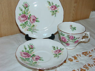 Lovely Mixed English Bone China Shabby Pink Roses Tea Cup Saucer Plate TRIO