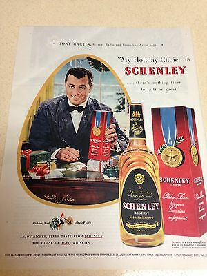 """1949 LARGE Vintage Ad Schenley Reserve Whiskey 10""""X13"""""""