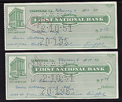 Lot Two 1951 Check FIRST NATIONAL BANK, Champaign, Illinois -college Coton Shops