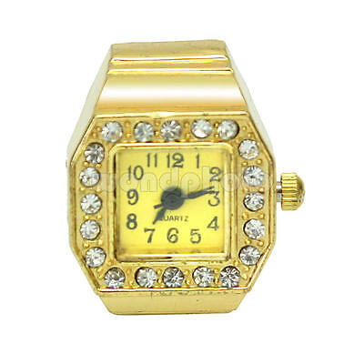 Lady Rhinestone Square Dial Elastic Band Finger Ring Watch Aluminum Alloy Strap