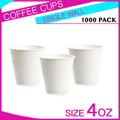 1000Pc 4 oz Disposable White Single Wall Paper Coffee Cups Party cups Bulk Buy