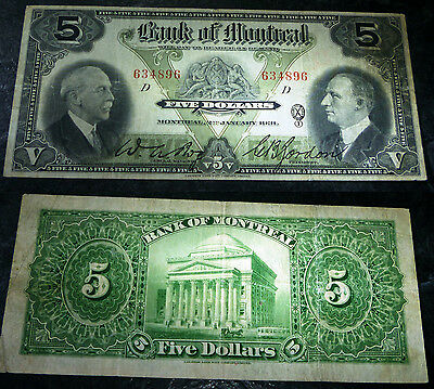 1931 $5 BANK OF MONTREAL ,Canada Chartered BANKNOTE- CH-505-58-02