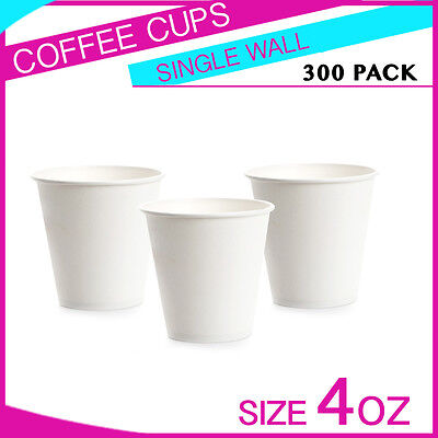 300 Pc 4 oz Disposable White Single Wall Paper Coffee Cups Party cups Bulk Buy