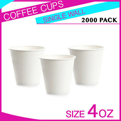 2000 Pc 4 oz Disposable White Single Wall Paper Coffee Cups Party cups Bulk Buy