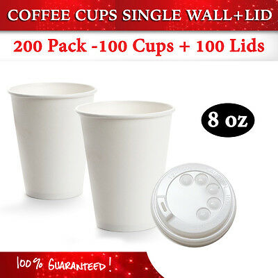 Disposable White 8 oz Single Wall Paper Coffee Cups 100 Pc + 100 Lids Bulk Buy