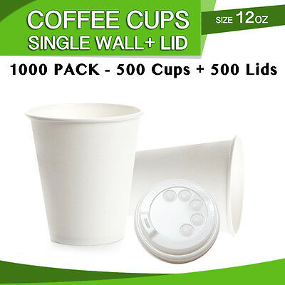 Disposable White 12 oz Single Wall Paper Coffee Cups 500 Pc + 500 Pc Lids Bulk