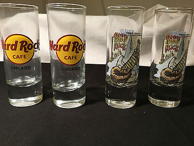 *LOT OF 4* Hard Rock Cafe Set Tall Shot Glass Classic Guitar - Chicago