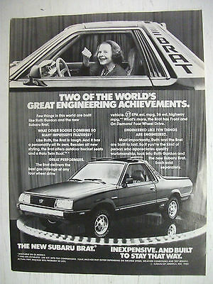 1982 Subaru Brat (Brumby) Us Magazine Fullpage Advertisement