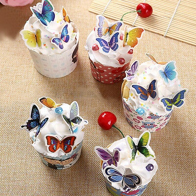 50x Butterflies Wedding Birthday  Paper Cupcake Cake Toppers HU
