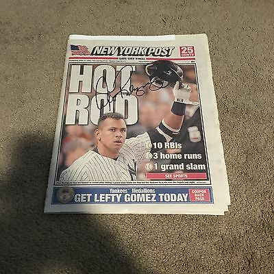 Alex Rodriguez Signed New York Yankees Autographed Newspaper