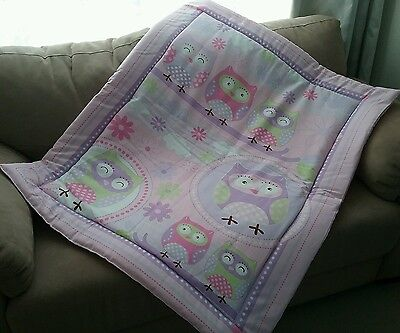 Pink Owls Cot Quilt or Playmat Handmade NEW
