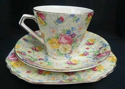 BCM LORD NELSON WARE Chintz ROSE TIME Vintage China Teacup Trio England