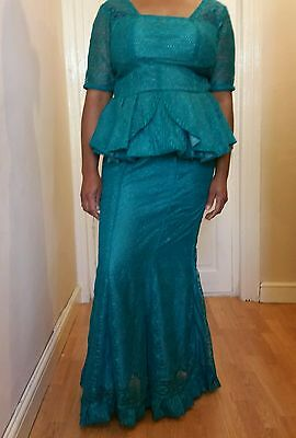 Size 18 ladies African seagreen 6 pieces mermaid lace skirt & peplum blouse