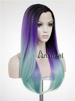 Green Lace Front Wig Purple Straight Heat Resistant Synthetic Hair Party Wigs