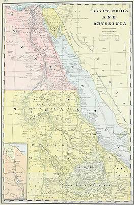 Palestine Egypt Nubia Abyssinia Antique Middle East Map 1887