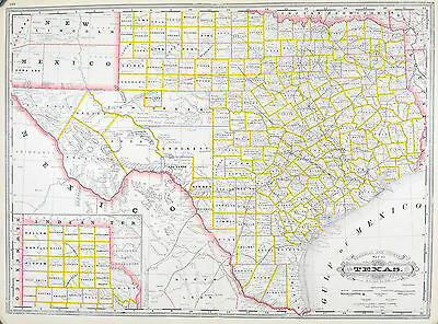 Texas Railroad and County Antique Map 1887