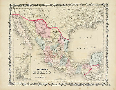 Mexico Johnson Hand Colored Map 1860