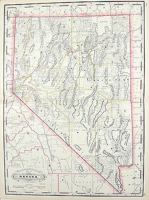 Nevada Railroad and County Antique Map 1887