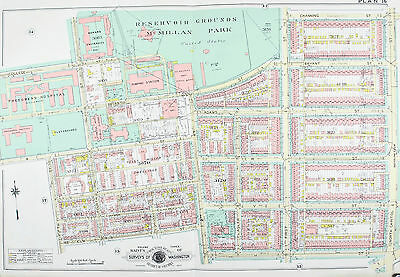 Washington DC Howard University Freedmans Hospital Vintage Baist Map 1960