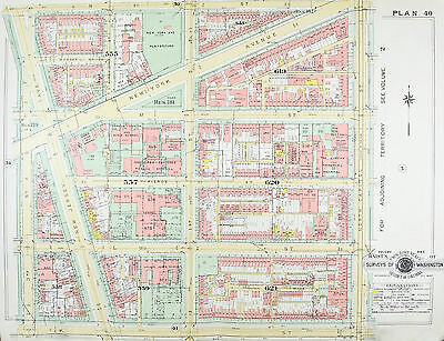 Washington DC New York Ave Vintage Baist City Map 1957