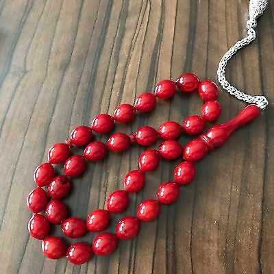 CHERRY AMBER BAKELITE FATURAN PRAYER TESBIH ISLAM NECKLACE BEADS 43 gr ARAB