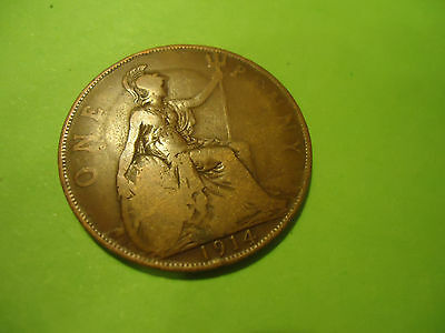 1914 English One Penny               Combined Shipping