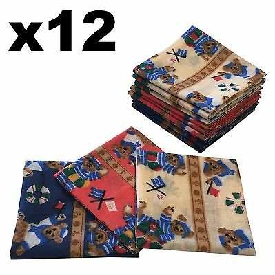 Childrens Handkerchiefs - 12 pack Sailor Teddies 25x25cm Hankies - Cotton Hanky