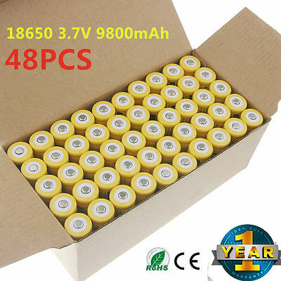 48pcs 18650 3.7V 9800mAh Yellow Li-ion Rechargeable Battery Cell For Torch EK