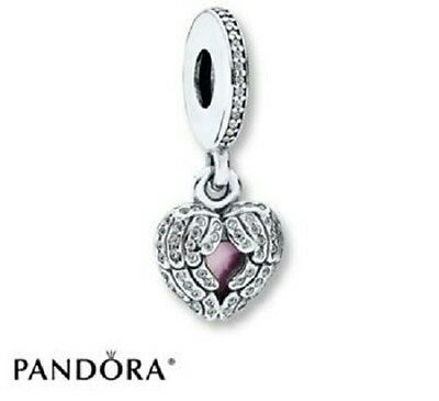 New PANDORA Genuine S925 ALE Angel Wing Pink Love Heart Locket Charm 791737CZ