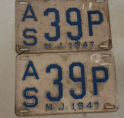 Pair of New Jersey License Plates  1947