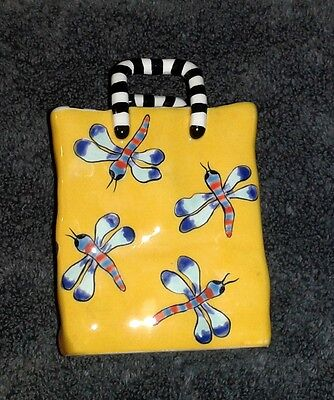 Patricia Dupont Hand Painted Yellow Ceramic Bag With Dragonflies (1999)