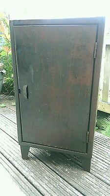 Vintage Metal Industrial Factory Cabinet Original Green Paint Lovely Patina