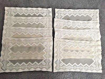 Gorgeous Vintage Dontelle Lace Net Weave Handmade Placemats Lot of 8