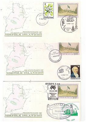 Norfolk Island 1988 Group of Covers   ( 3 Covers )