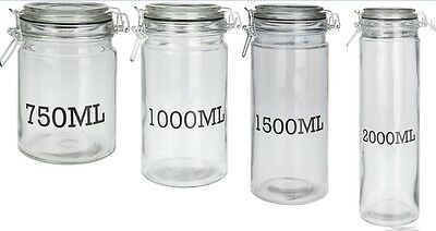 Airtight Clip Top Glass Storage Jars Very Large to Small Pasta Jars With Seal
