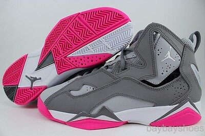 Nike Air Jordan True Flight Cool Gray/white/pink Women Girls Retro Us Youth Size