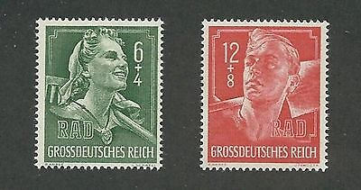 Mint stamp set / Hitler Youth / Labor corps / 1944 Third Reich issues / MNH