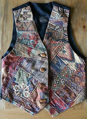 mens vest patchwork made in Australia wood buttons vintage original small floral