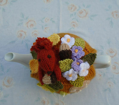 Hand Knitted Squirrel And Autumn Leaves Tea Cosy For A Medium Teapot