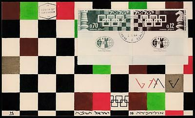 Israel Chess Olympiad 1964 First Day Hand Painted Card From Designer, Rare!