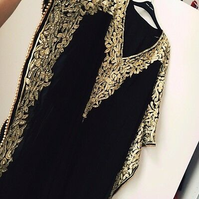 Stunning Black And Gold Womens Farasha/abaya dubai Fashion