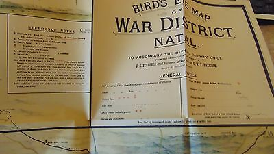 Circa 1905 Bird's Eye Map Of War District Natal - 3 Maps In One - Railway Guide
