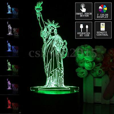LED Lamp New York City Statue Of Liberty 7 Color 3D Remote Control Light Decor