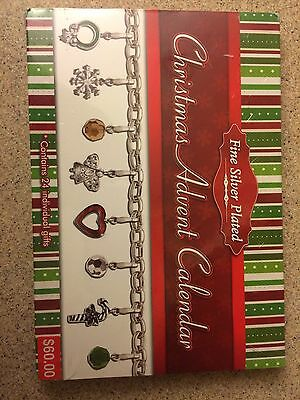 Christmas Advent Calendar Charm Necklace Bracelet-Fine Silver Plated-New in Box