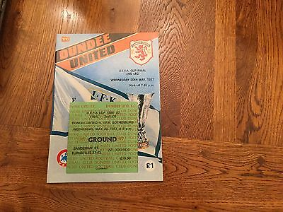 Uefa Cup Final 1987. Dundee V Gotenborg - Prog And Ticket Mint Condition