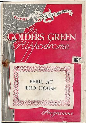 theatre programme Golders Green Hippodrome  play Peril at End House early 60s