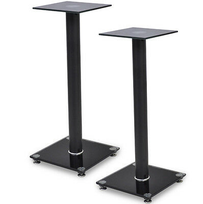Glass Speaker Stands Pair Monitor Sound Speakers Modern Floor Stand Black New