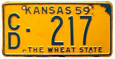 Kansas 1959 License Plate, Cloud County, Blue / Yellow, Low Number, 217