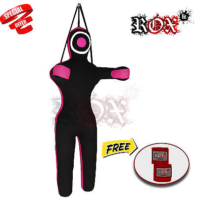 Sale on Grappling Dummy Bags Black Pink Hanging with Red Handwrap 6 ft FREE